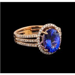 14KT Rose Gold 2.92 ctw Tanzanite and Diamond Ring