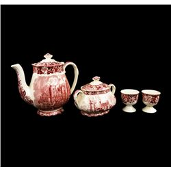 6 Piece Set of Palissy Thames River Transferware