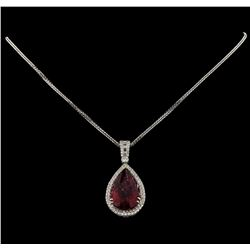 17.94 ctw Tourmaline and Diamond Pendant With Chain - 18KT White Gold