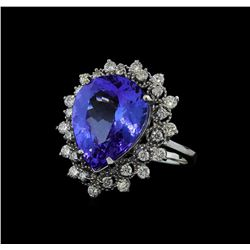 7.95 ctw Tanzanite and Diamond Ring - 14KT White Gold