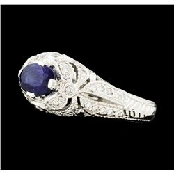 1.27 ctw Sapphire and Diamond Ring - 14KT White Gold