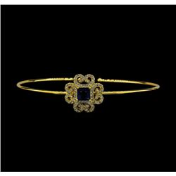 Vintage CZ Open Bangle Bracelet - Gold Plated