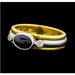 0.80 ctw Blue Sapphire and Diamond Ring - 18KT Yellow Gold and Platinum