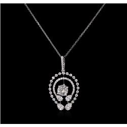 1.36 ctw Diamond Pendant With Chain - 14KT-18KT White Gold