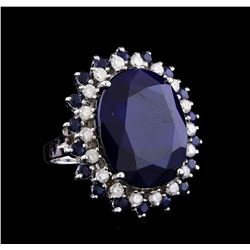 30.22 ctw Sapphire and Diamond Ring - 14KT White Gold