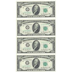 (4)Consecutive 1950-B $10 Federal Reserve Notes