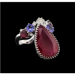 14KT White Gold 13.09 ctw Ruby, Tanzanite and Diamond Ring