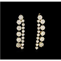 3.34 ctw Diamond Dangle Earrings - 14KT Yellow Gold