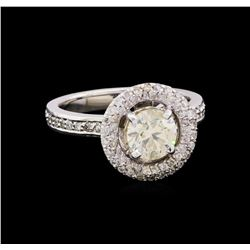 1.55 ctw Diamond Halo Ring - 14KT White Gold