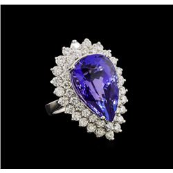 GIA Cert 21.32 ctw Tanzanite and Diamond Ring - 14KT White Gold