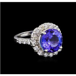 5.52 ctw Tanzanite and Diamond Ring - 14KT White Gold