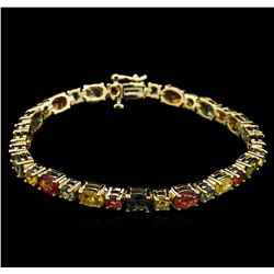 17.55 ctw Multi Color Sapphire Bracelet - 14KT Yellow Gold