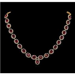 47.00 ctw Ruby and Diamond Necklace - 14KT Yellow Gold