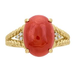 4.59 ctw Coral and Diamond Ring - 14KT Yellow Gold