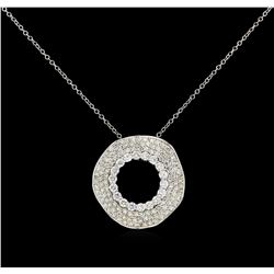 1.63 ctw Diamond Pendant With Chain - 14KT White Gold