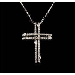 14KT White Gold 0.93 ctw Diamond Cross Pendant With Chain