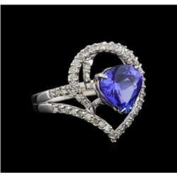 3.44 ctw Tanzanite and Diamond Ring - 18KT White Gold