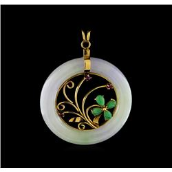 0.40 ctw Jadeite and Ruby Pendant - 14KT Yellow Gold
