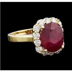 6.15 ctw Ruby and Diamond Ring - 14KT Yellow Gold