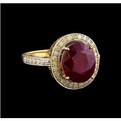 5.28 ctw Ruby and Diamond Ring - 14KT Yellow Gold