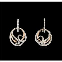 0.70 ctw Diamond Earrings - Two-Tone Gold
