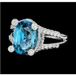6.94 ctw Blue Zircon And Diamond Ring - 18KT White Gold