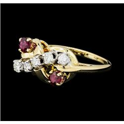 0.30 ctw Diamond and Ruby Ring - 14KT Yellow and White Gold