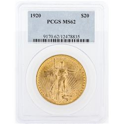 1920 PCGS MS62 $20 St. Gaudens Double Eagle Gold Coin