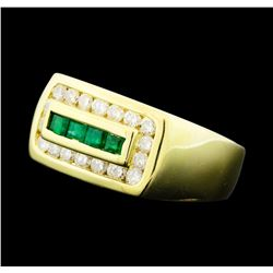 0.32 ctw Emerald and Diamond Ring - 14KT Yellow Gold