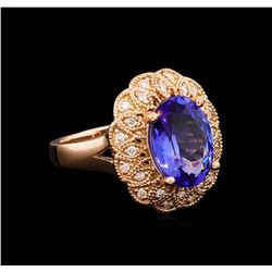 4.58 ctw Tanzanite and Diamond Ring - 14KT Rose Gold
