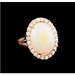 10.00 ctw Opal and Diamond Ring - 14KT Rose Gold