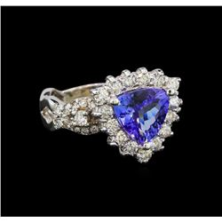 14KT White Gold 2.01 ctw Tanzanite and Diamond Ring