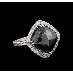 8.30 ctw Black Diamond Ring - 14KT White Gold