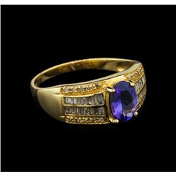 14KT Yellow Gold 1.04 ctw Tanzanite and Diamond Ring