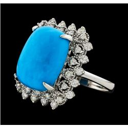 9.51 ctw Turquoise and Diamond Ring - 14KT White Gold