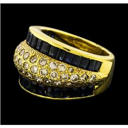 Sapphire and Diamond Ring - 18KT Yellow Gold