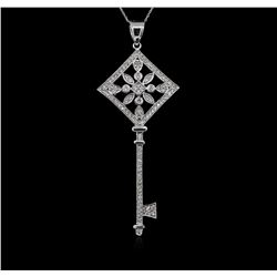 1.05 ctw Diamond Key Pendant With Chain - 14KT White Gold