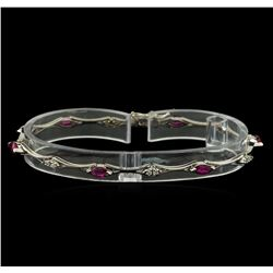 0.60 ctw Ruby and Diamond Bracelet - 14KT White Gold