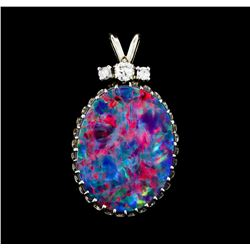 3.00 ctw Opal and Diamond Pendant - 14KT White Gold