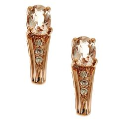 0.66 ctw Morganite and Diamond Earrings - 14KT Rose Gold