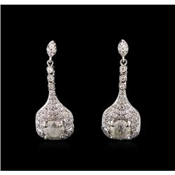 2.59 ctw Diamond Earrings - 14KT White Gold
