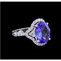3.85 ctw Tanzanite and Diamond Ring - 14KT White Gold