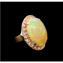 14.22 ctw Opal and Diamond Ring - 14KT Rose Gold
