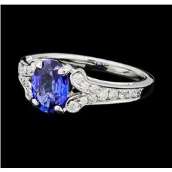 1.32 ctw Sapphire and Diamond Ring - 18KT White Gold