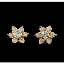 2.36 ctw Diamond Earrings - 14KT Yellow Gold