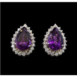 14KT White Gold 10.38 ctw Amethyst and Diamond Earrings