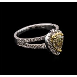 1.42 ctw Light Yellow Diamond Ring - 14KT White Gold