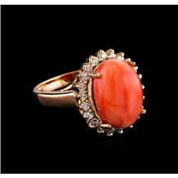 6.30 ctw Coral and Diamond Ring - 14KT Rose Gold