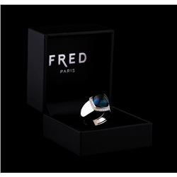 Fred of Paris Pain De Sucre Blue Topaz and Diamond Ring - 18KT White Gold