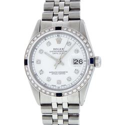 Rolex Stainless Steel Diamond and Sapphire DateJust Men's Wristwatch